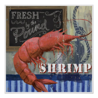 Fresh Shrimp Fish market Style art Poster