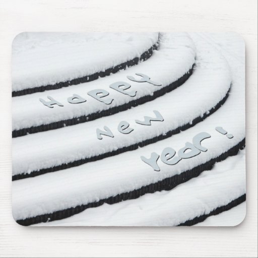 Fresh Snow Happy New Year Mouse Pads