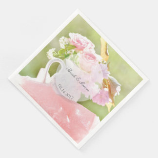 Fresh Spring Flower Bouquet editable wedding Paper Napkin