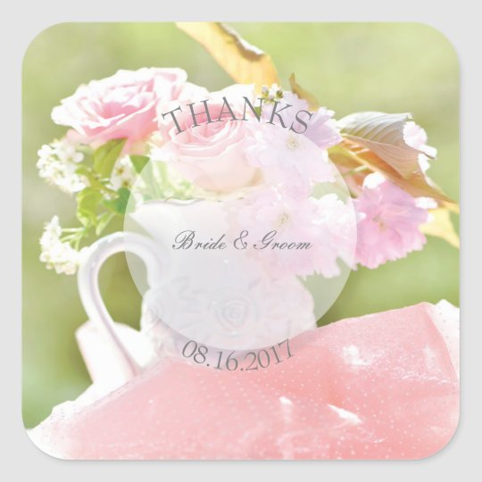 Fresh Spring Flower Bouquet editable wedding-thank Square Sticker