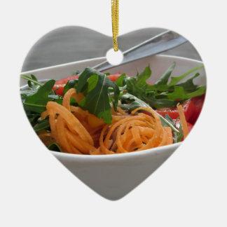 Fresh spring salad ceramic heart ornament
