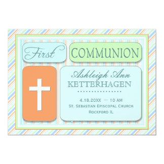 Fresh Spring Stripes First Communion 5x7 Paper Invitation Card