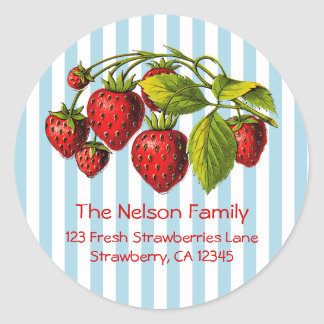 Fresh Strawberries Blue Stripes Classic Round Sticker