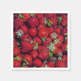 Fresh Strawberries Fruit Red Delicious Disposable Napkins