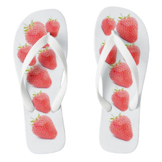 Fresh Strawberries Print Flip Flops