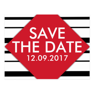 Fresh Stripes Black and Red Save the Date Postcard
