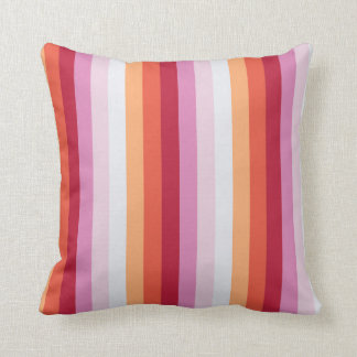 Fresh Stripes in Orange Red and Lilac Throw Pillow