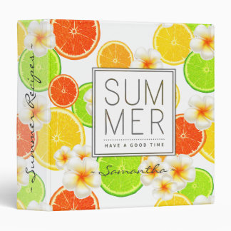 Fresh Summer Fruits and Exotic Plumeria Flowers 3 Ring Binders