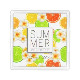Fresh Summer Fruits and Exotic Plumeria Flowers Acrylic Tray