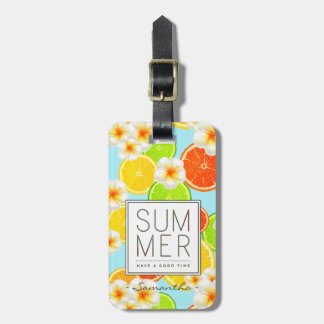 Fresh Summer Fruits and Exotic Plumeria Flowers Bag Tag