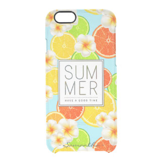 Fresh Summer Fruits and Exotic Plumeria Flowers Clear iPhone 6/6S Case