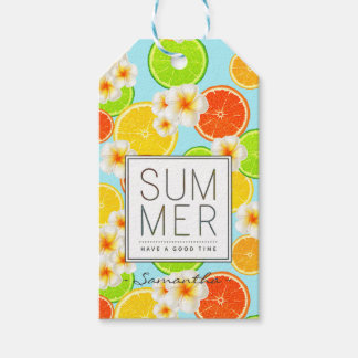 Fresh Summer Fruits and Exotic Plumeria Flowers Gift Tags