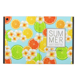 Fresh Summer Fruits and Exotic Plumeria Flowers iPad Air Cases