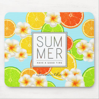 Fresh Summer Fruits and Exotic Plumeria Flowers Mouse Pad