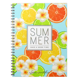 Fresh Summer Fruits and Exotic Plumeria Flowers Notebook