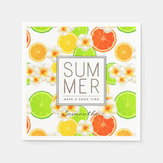 Fresh Summer Fruits and Exotic Plumeria Flowers Paper Napkins