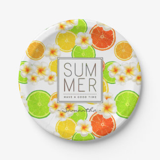 Fresh Summer Fruits and Exotic Plumeria Flowers Paper Plate