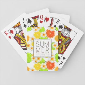 Fresh Summer Fruits and Exotic Plumeria Flowers Playing Cards