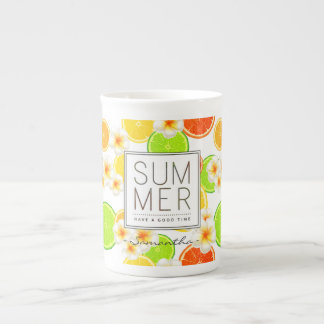 Fresh Summer Fruits and Exotic Plumeria Flowers Tea Cup