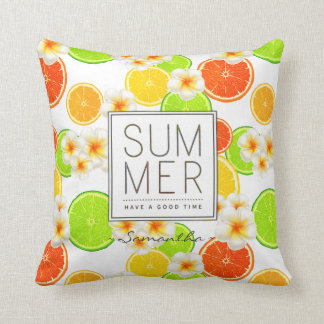 Fresh Summer Fruits and Exotic Plumeria Flowers Throw Pillow
