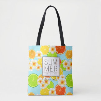 Fresh Summer Fruits and Exotic Plumeria Flowers Tote Bag