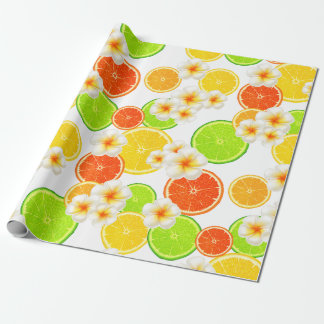 Fresh Summer Fruits and Exotic Plumeria Flowers Wrapping Paper