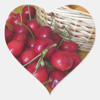 Fresh summer fruits on light wooden table heart sticker