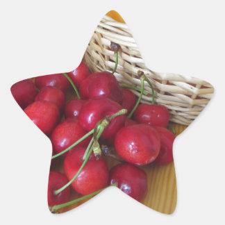 Fresh summer fruits on light wooden table star sticker