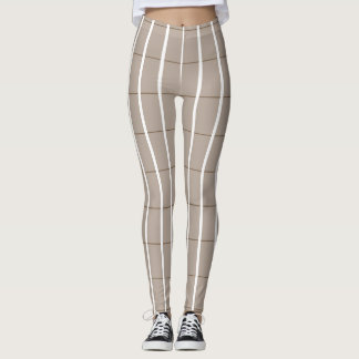 Fresh-Summer-Plaid's-Beige(c) -LEGGING'S_XS-XL Leggings