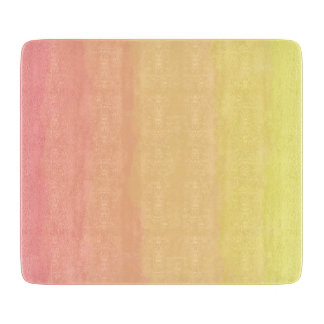 fresh summer sunset orange coral watercolors cutting board