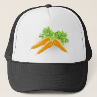 Fresh tasty orange carrots illustration trucker hat