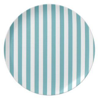 Fresh Teal and White Bold Striped Pattern Plates