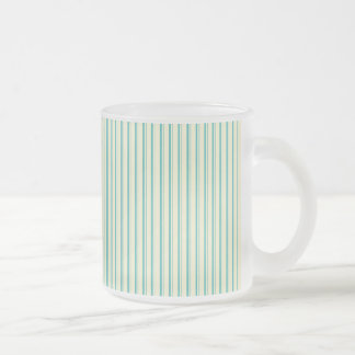 Fresh Teal and Yellow Stripe Pattern Frosted Glass Coffee Mug