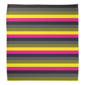 fresh trendy neon yellow pink back grey striped bandana