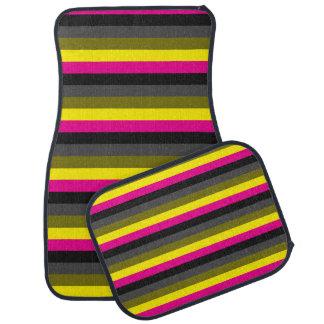 fresh trendy neon yellow pink back grey striped car mat