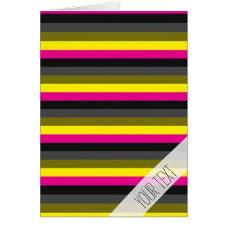 fresh trendy neon yellow pink back grey striped card