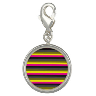 fresh trendy neon yellow pink back grey striped charm