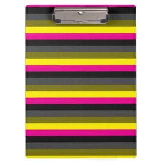 fresh trendy neon yellow pink back grey striped clipboard