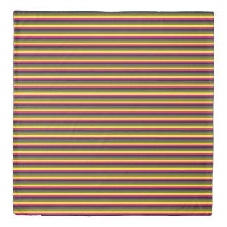 fresh trendy neon yellow pink back grey striped duvet cover