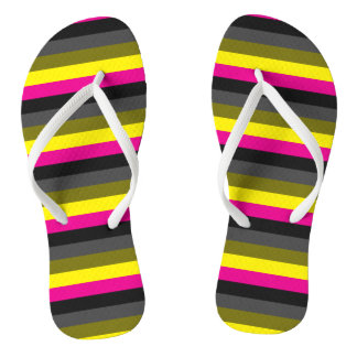 fresh trendy neon yellow pink back grey striped flip flops