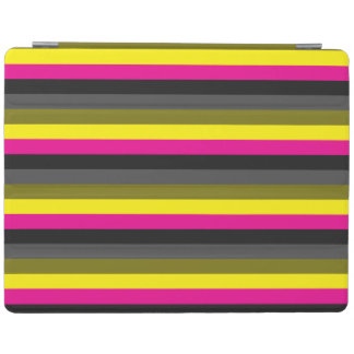 fresh trendy neon yellow pink back grey striped iPad cover