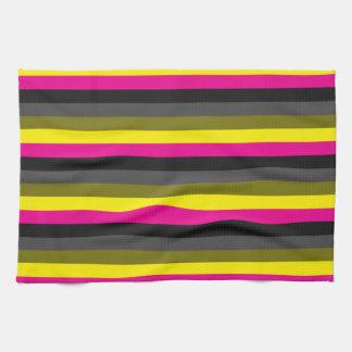 fresh trendy neon yellow pink back grey striped kitchen towel