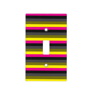 fresh trendy neon yellow pink back grey striped light switch cover