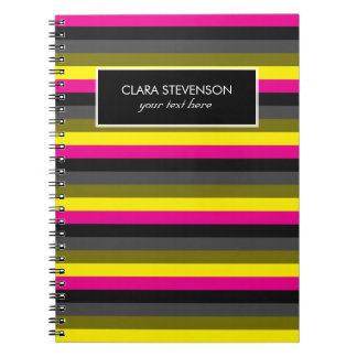 fresh trendy neon yellow pink back grey striped notebook