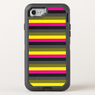fresh trendy neon yellow pink back grey striped OtterBox defender iPhone 8/7 case