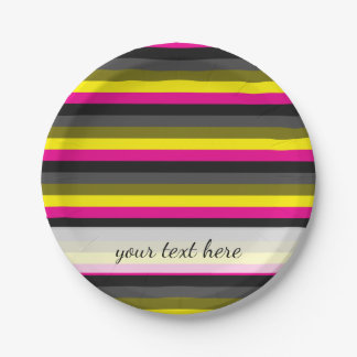 fresh trendy neon yellow pink back grey striped paper plate