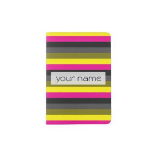 fresh trendy neon yellow pink back grey striped passport holder