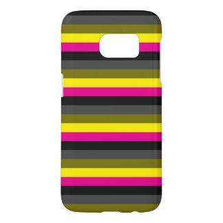 fresh trendy neon yellow pink back grey striped samsung galaxy s7 case