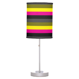 fresh trendy neon yellow pink back grey striped table lamp