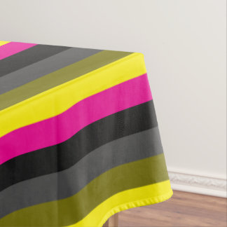 fresh trendy neon yellow pink back grey striped tablecloth